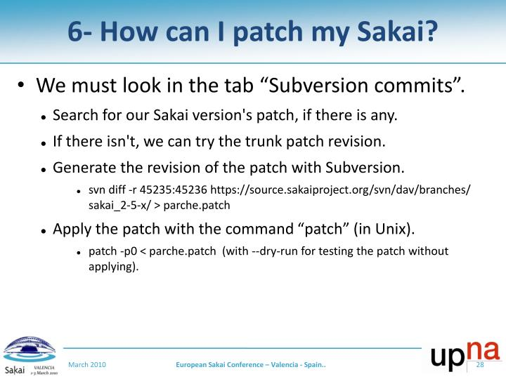 6- How can I patch my Sakai?