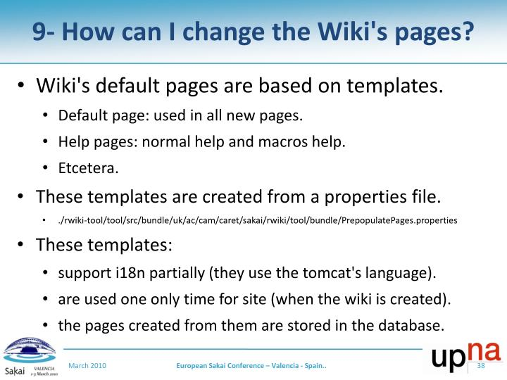 9- How can I change the Wiki's pages?