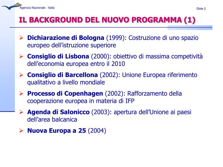 Il background del nuovo programma 1