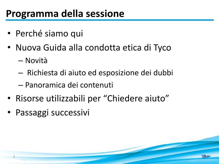 Programma della sessione