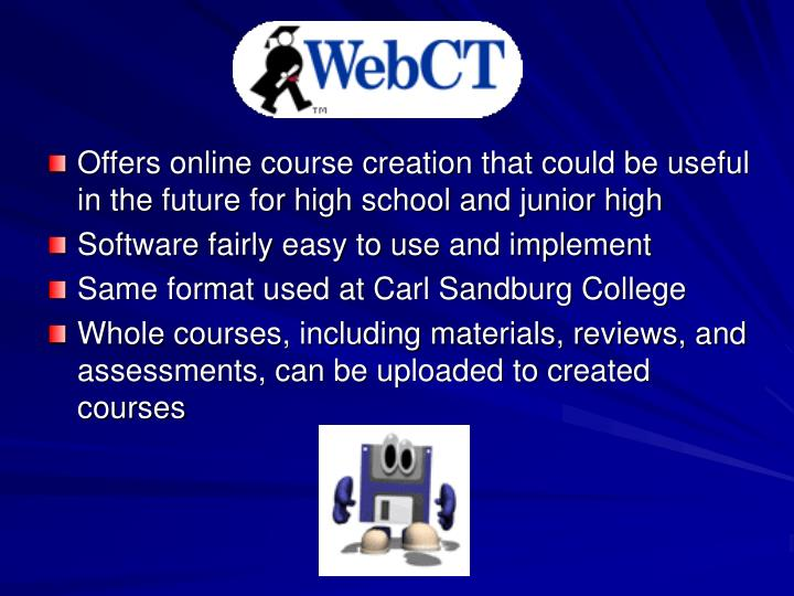 Offers online course creation that could be useful in the future for high school and junior high