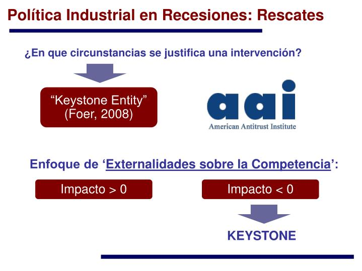 Política Industrial en Recesiones: Rescates