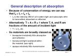 general description of absorption