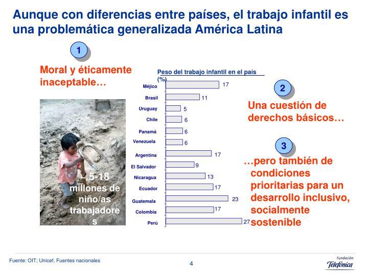 Aunque con diferencias entre países, el trabajo infantil es una problemática generalizada América Latina
