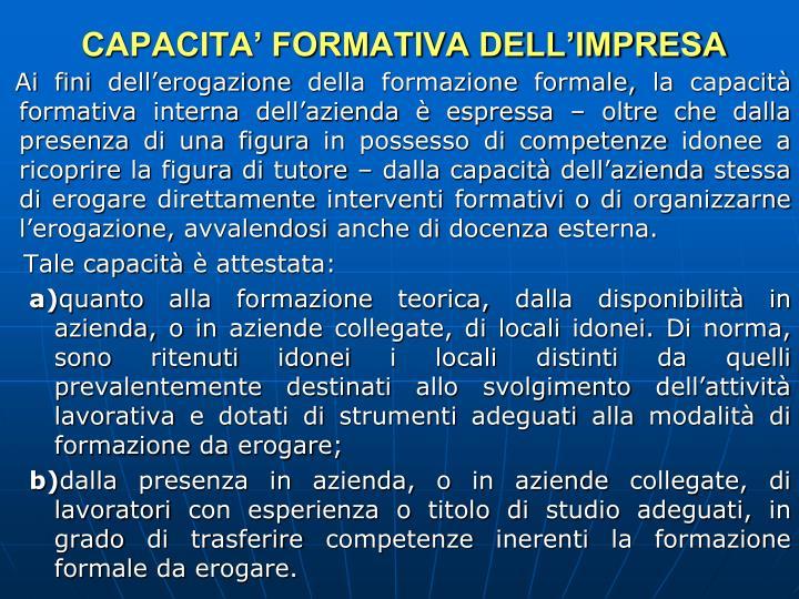 CAPACITA' FORMATIVA DELL'IMPRESA