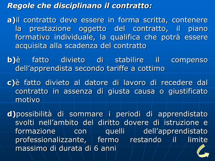 Regole che disciplinano il contratto: