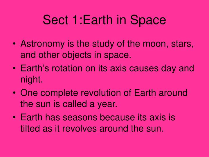 Sect 1:Earth in Space