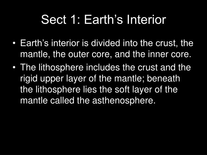 Sect 1: Earth's Interior