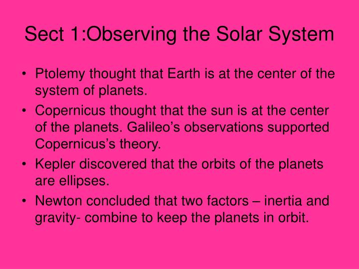 Sect 1:Observing the Solar System