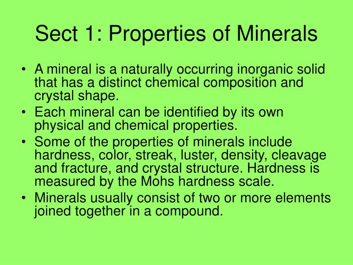 Sect 1: Properties of Minerals