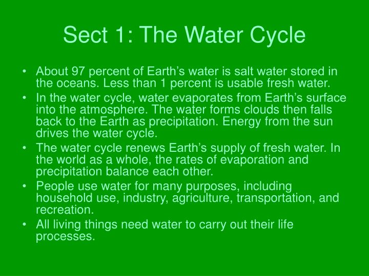 Sect 1: The Water Cycle