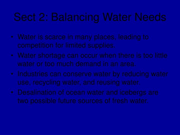 Sect 2: Balancing Water Needs