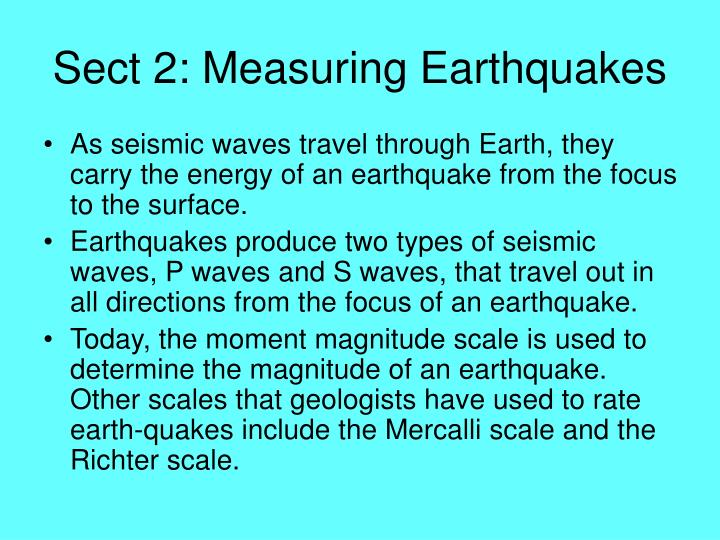 Sect 2: Measuring Earthquakes