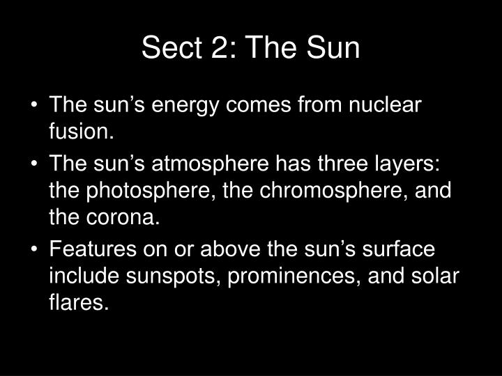 Sect 2: The Sun