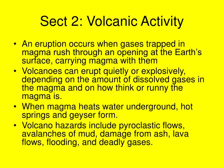 Sect 2: Volcanic Activity