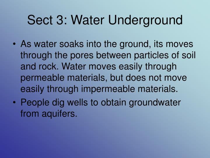 Sect 3: Water Underground
