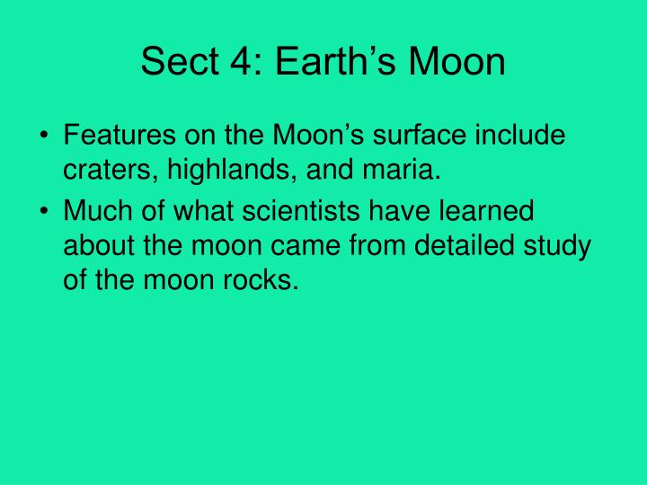 Sect 4: Earth's Moon