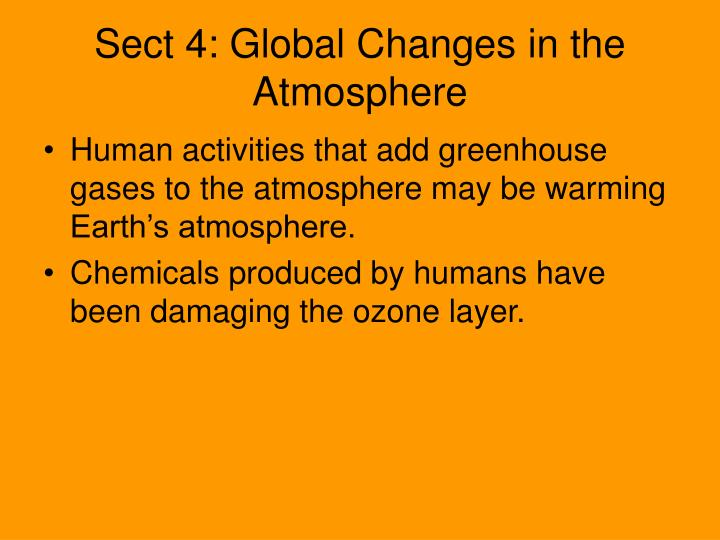 Sect 4: Global Changes in the Atmosphere