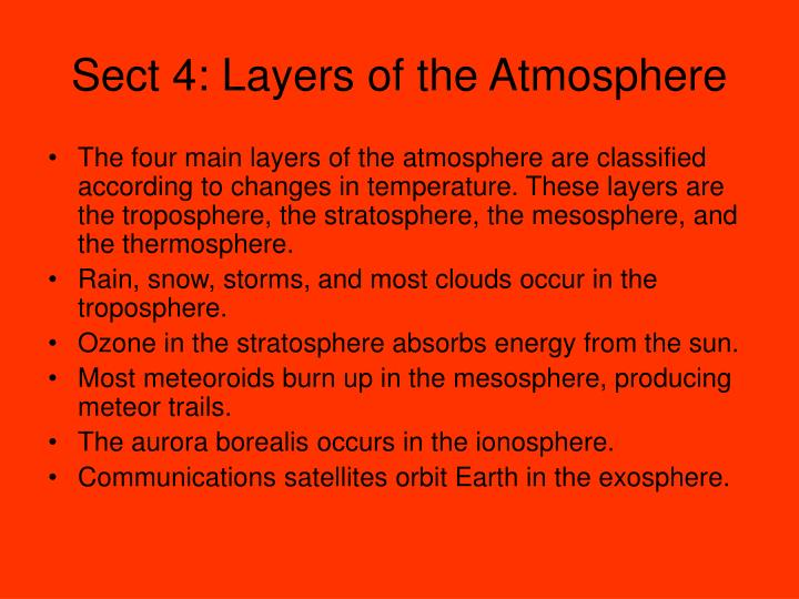 Sect 4: Layers of the Atmosphere
