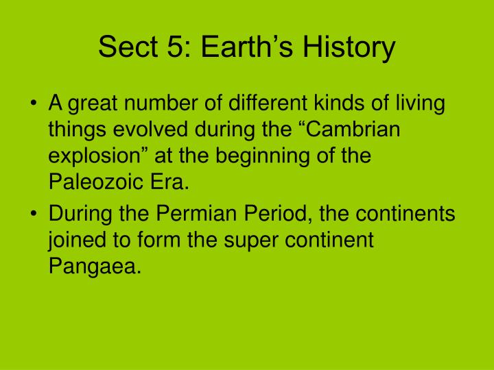 Sect 5: Earth's History