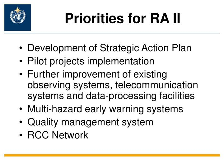 Priorities for ra ii