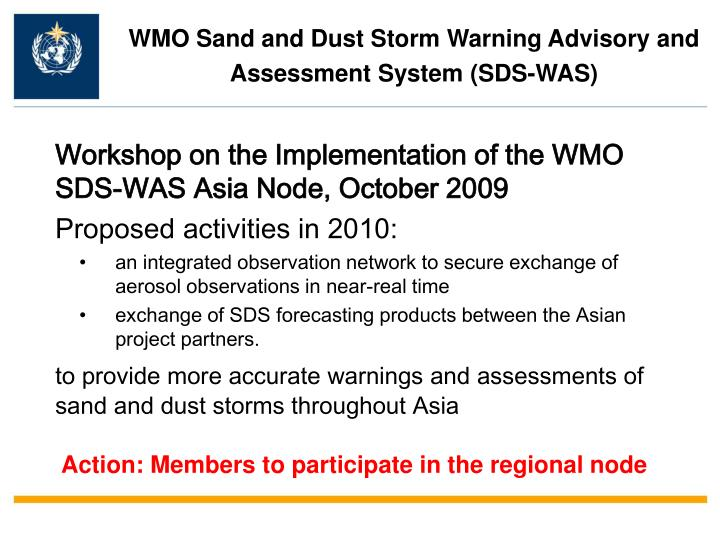 Workshop on the Implementation of the WMO SDS-WAS Asia Node, October 2009