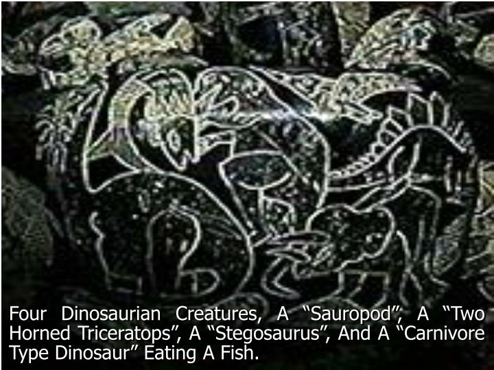 "Four Dinosaurian Creatures, A ""Sauropod"", A ""Two Horned Triceratops"", A ""Stegosaurus"", And A ""Carnivore Type Dinosaur"" Eating A Fish."