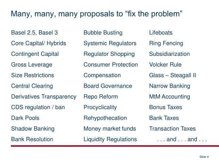 "Many, many, many proposals to ""fix the problem"""