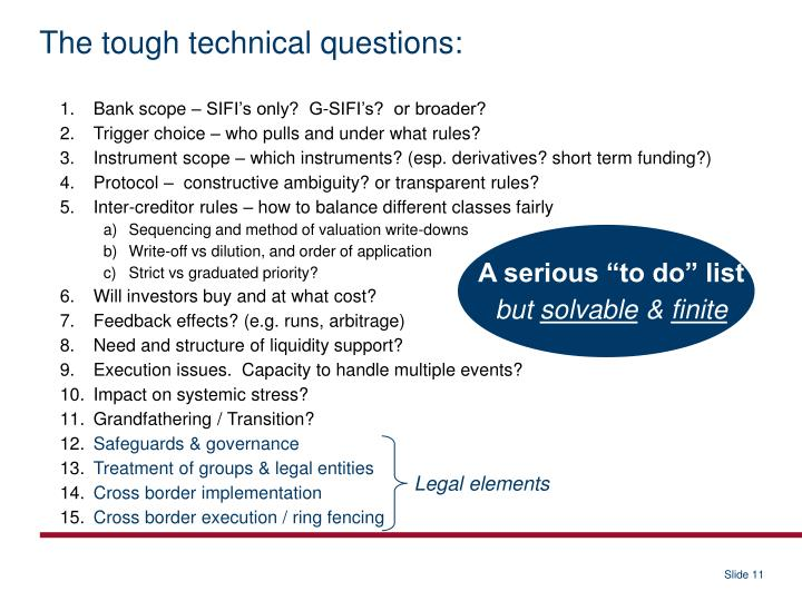 The tough technical questions: