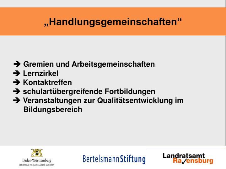 """""""Handlungsgemeinschaften"""""""