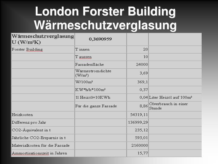 London Forster Building Wärmeschutzverglasung