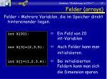 felder arrays