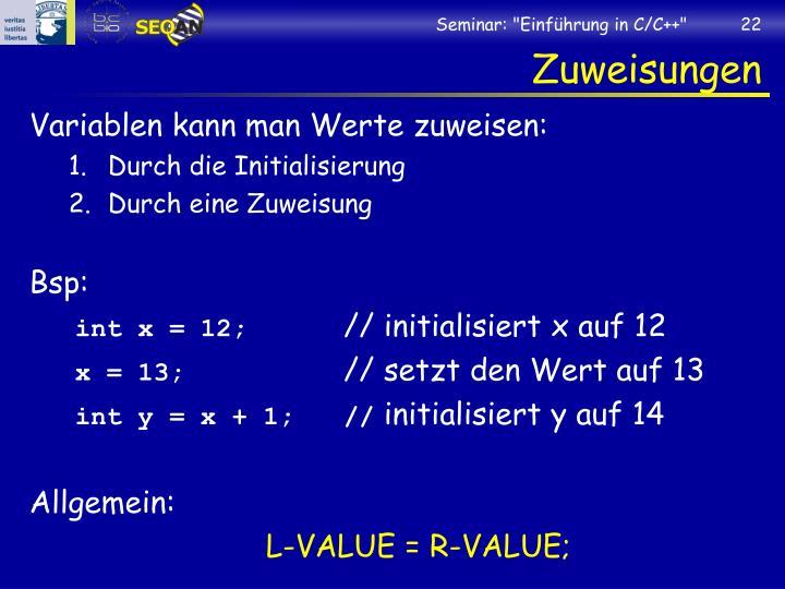 """Seminar: """"Einführung in C/C++"""""""