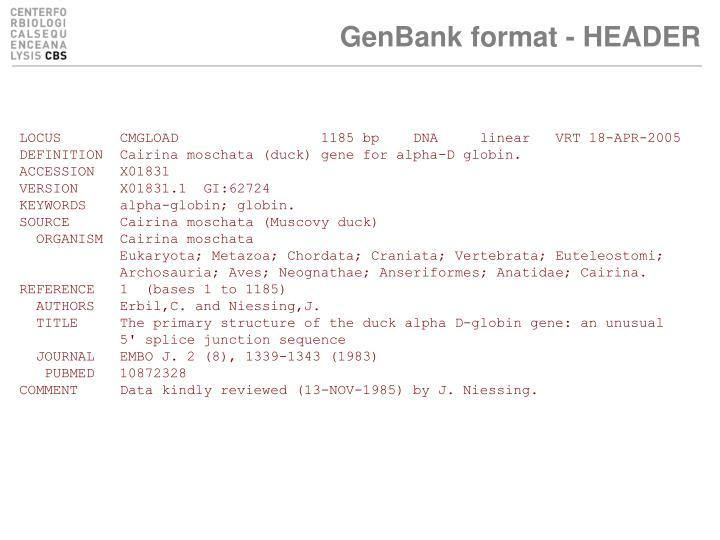GenBank format - HEADER
