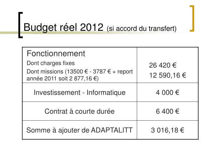Budget réel 2012