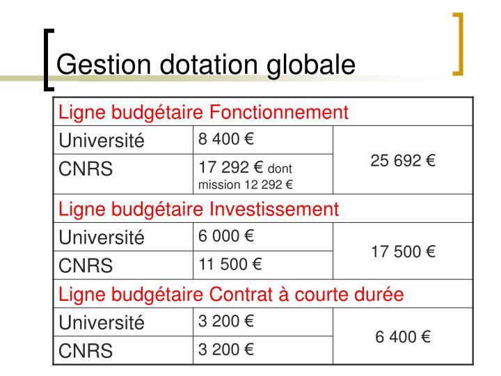 Gestion dotation globale
