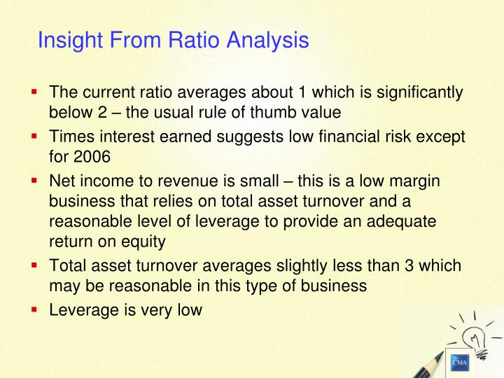 The current ratio averages about 1 which is significantly below 2 – the usual rule of thumb value