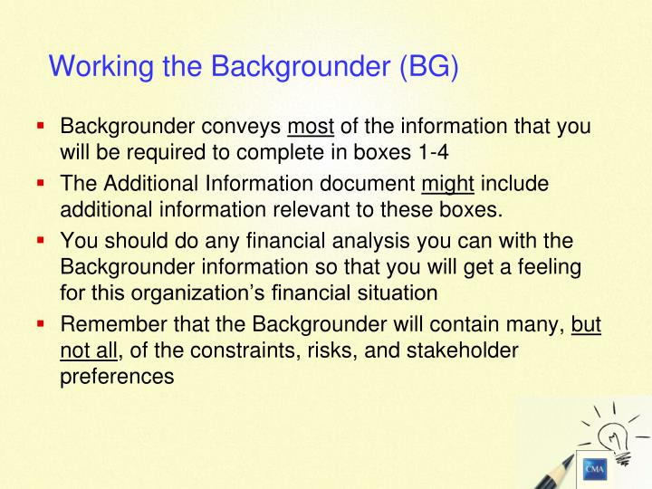 Backgrounder conveys