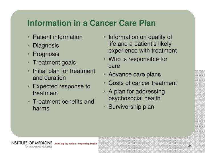 Information in a Cancer Care Plan
