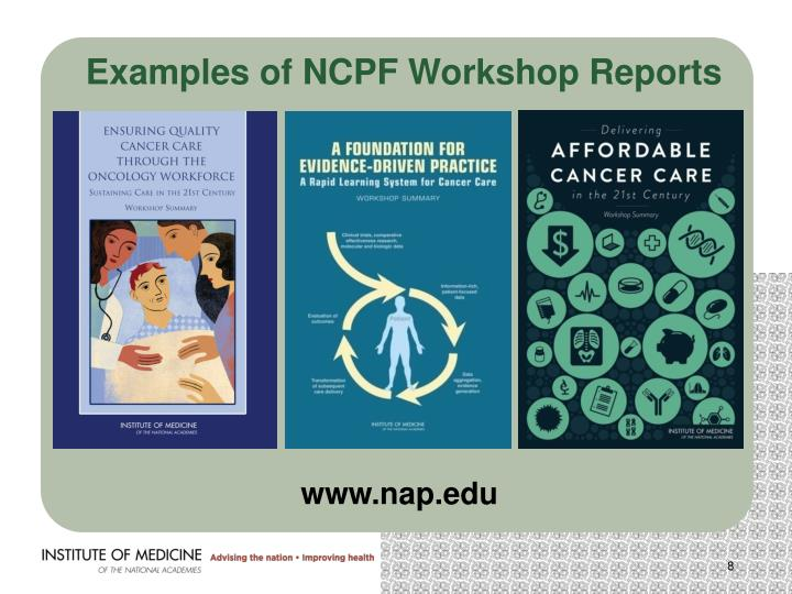 Examples of NCPF Workshop Reports