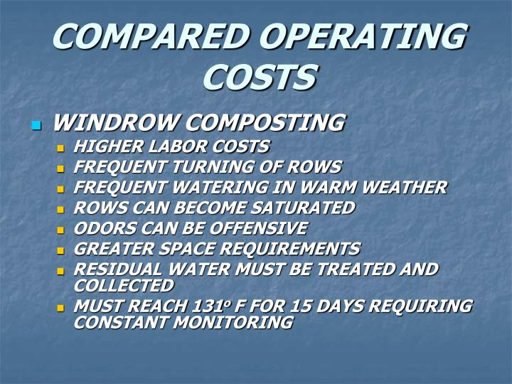 COMPARED OPERATING COSTS