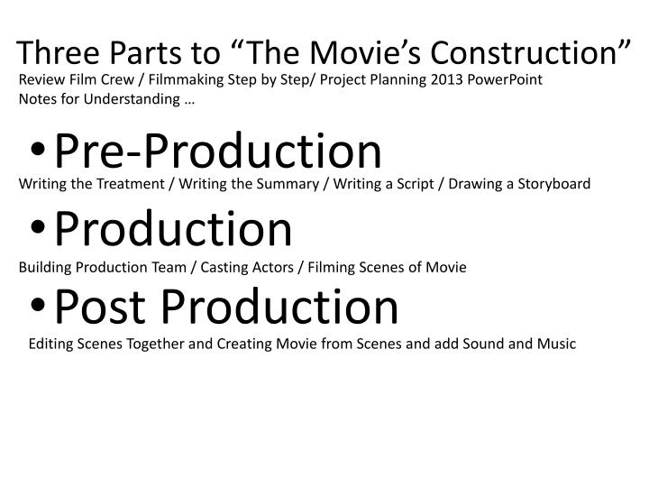 Three parts to the movie s construction