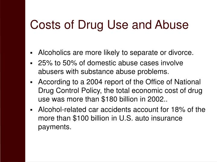Costs of Drug Use and Abuse