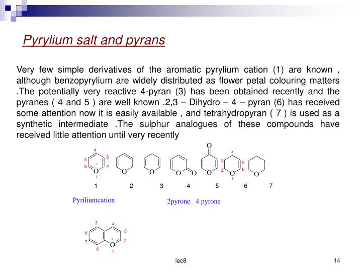 Pyrylium salt and pyrans