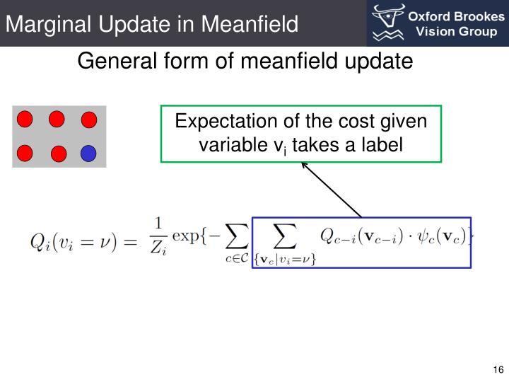 Marginal Update in Meanfield