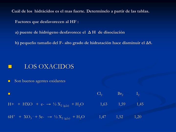 Cuál de los  hidrácidos es el mas fuerte. Determínelo a partir de las tablas.