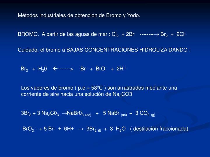 Métodos industriales de obtención de Bromo y Yodo.