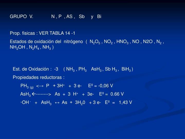 GRUPO  V.              N , P  , AS ,   Sb     y   Bi