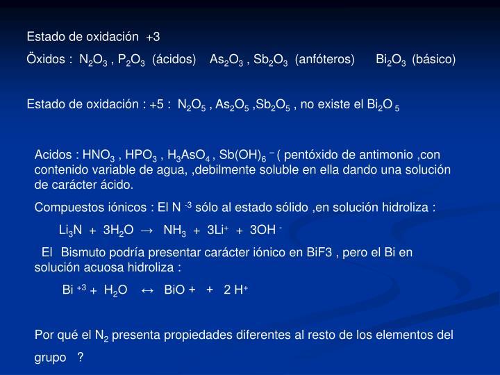 Estado de oxidación  +3