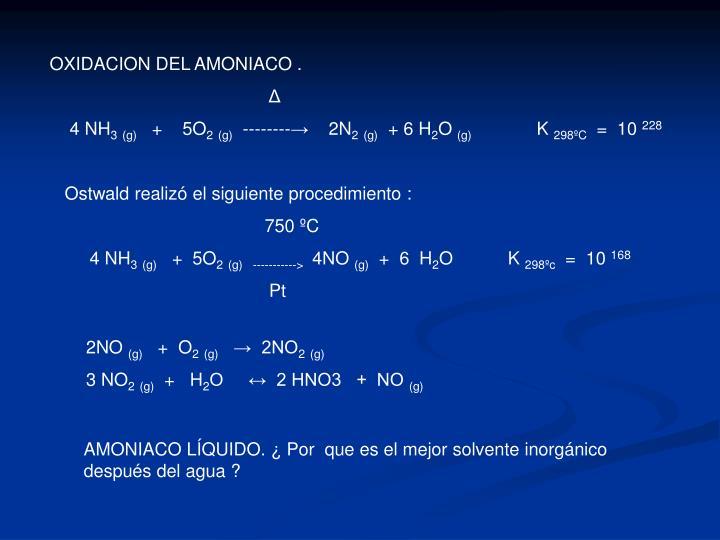 OXIDACION DEL AMONIACO .